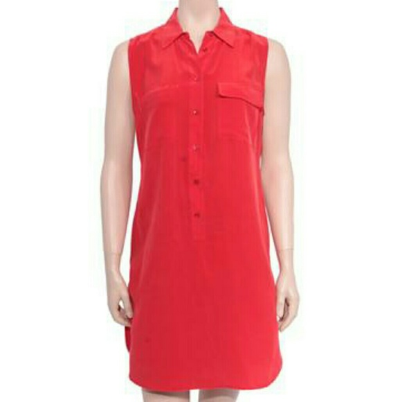 11548a6b1b5bab Equipment Dresses   Skirts - Equipment Silk Red Button Front Shirt Dress ...